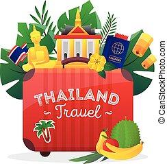 appartamento, manifesto, viaggiare, simboli, tailandia, composizione