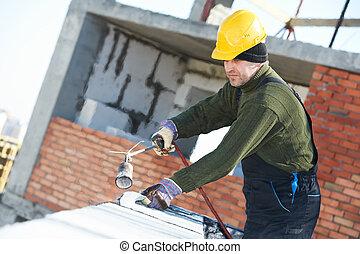 appartamento, mantello, feltro, tettoia, tetto, lavori in corso