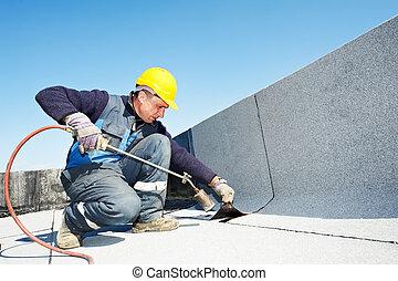 appartamento, mantello, feltro, tettoia, tetto, lavori in...