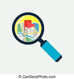 appartamento, mappa, magnificatore, dentro, icona