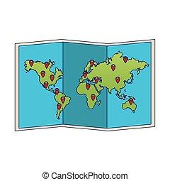 appartamento, mappa, mondo, disegno, icona
