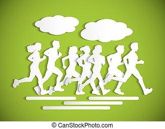 appartamento, maraphone, persone, silhouette., correndo, disinserimento, sport