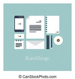 appartamento, marca, concetto, disegno, illustrazione