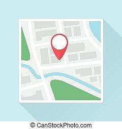 appartamento, marchio, posizione, mappa, icona
