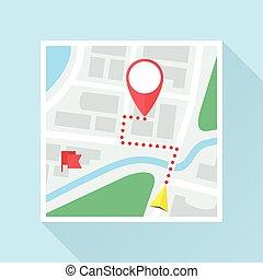 appartamento, marchio, posizione, tracciato, mappa, icona