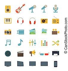 appartamento, media, icone