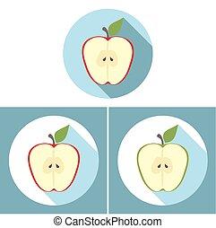 appartamento, mela affettano, lungo, disegno, uggia