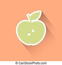 appartamento, mela, icona