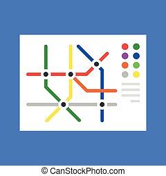 appartamento, metro, concept., moderno, map., illustrazione, vettore, disegno, mappa, sottopassaggio