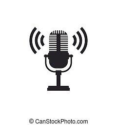 appartamento, microfono, isolated., segno., illustrazione, aria, microphone., vettore, radio, altoparlante, icona, mic, design.
