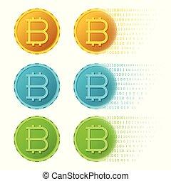 appartamento, minerario, set, concetti, bitcoin, vettore, digitale, stile