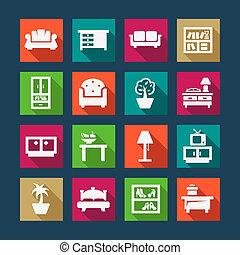 appartamento, mobilia, icone