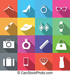 appartamento, moda, 16, icone, lungo, uggia