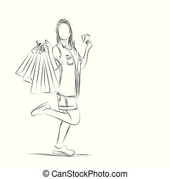 appartamento, moda, shopping, illustration., vettore, arte, ragazza, bag., linea