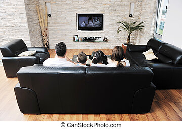 appartamento, moderno, famiglia, tv guardante, interno, casa