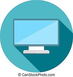 appartamento, monitor, lungo, vettore, uggia, icona