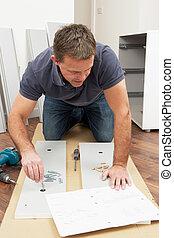 appartamento, montaggio, pacco, uomo, mobilia