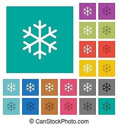 appartamento, multi, quadrato, colorato, icone, singolo, fiocco di neve
