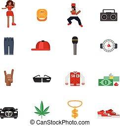 appartamento, musica, rap, icone