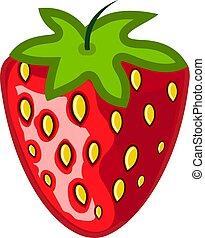 appartamento, naturale, illustration., semplice, vegetariano, moderno, cibo., fragola, vector., logotipo, segno., rosso, icona