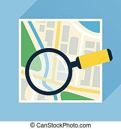 appartamento, navigational, mappa, magnificatore, sopra, icona