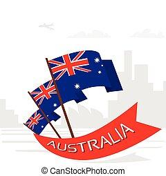 appartamento, nazionale, bandiera australia, giorno