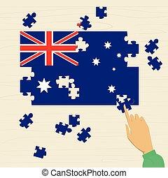 appartamento, nazionale, bandiera australia, puzzle