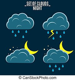 appartamento, nubi, icons., mese, ambiente, vettore, illustrazione, tempo, style., night., rain.