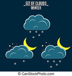appartamento, nubi, inverno, snowflakes., night., icons., mese, ambiente, vettore, illustrazione, tempo, cadere, style., snow.