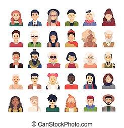 appartamento, o, caratteri, moda, vestito, accessori, collezione, isolato, fondo., vettore, vario, illustrazione, femmina, acconciature, abbigliamento, maschio bianco, style., cartone animato, avatars