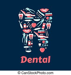 appartamento, odontoiatria, dente, silhouette, icone
