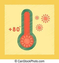 appartamento, ombreggiatura, stile, icona, termometro, tempo caldo