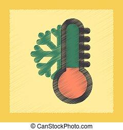 appartamento, ombreggiatura, stile, icona, termometro, tempo freddo