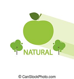 appartamento, organico, melo, vettore, verde, naturale, icona