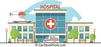 appartamento, ospedale, illustrazione