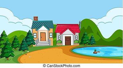 appartamento, paesaggio rurale, casa
