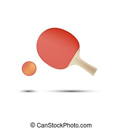 appartamento, palla, tennis, ping, isolato, gioco, vettore, racchetta, tavola, pong, icona