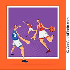 appartamento, pallacanestro, poster., illustrazione, astratto, uomini, isolato, style., lettori, vettore, fondo., sagoma, bianco, sport, gioco, ball.