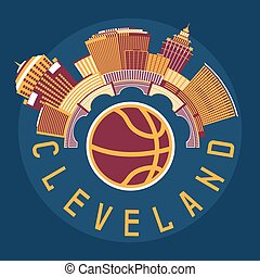appartamento, pallacanestro, stati uniti, illustrazione, tema, vettore, disegno, cleveland, ohio