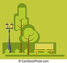 appartamento, panchina, luci, vettore, paesaggio verde, disegno, divertimento, stret