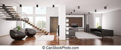appartamento, panorama, 3d