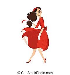 appartamento, parigino, basco, vettore, ragazza, vestire, rosso