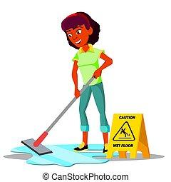 appartamento, pavimento, isolato, illustrazione, adolescente, vector., ragazza, pulizia