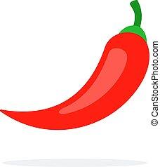 appartamento, pepe, vettore, isolato, chilli, rosso