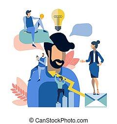 appartamento, persone affari, lavoro, illustrazione, creativo, team., vettore, situazione, style., cartone animato