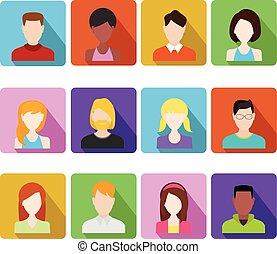 appartamento, persone, icons., faccia, femmina, avatars., maschio