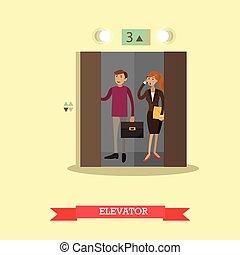 appartamento, persone, illustrazione, vettore, ascensore, style.