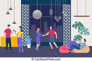 appartamento, persone, locale notturno, vettore, divertirsi, festa