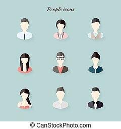 appartamento, persone, moderno, illustrazione, vettore, icone, style.