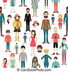 appartamento, persone, pattern., seamless, fondo., figure.